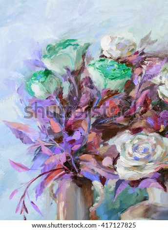 Oil painting flowers stock photos royalty free images for Oil painting patterns
