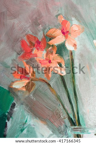 Oil Painting, Impressionism style, texture painting, flower still life painting art painted color image, wallpaper and backgrounds, canvas, artist, painting floral pattern, Narcissuses