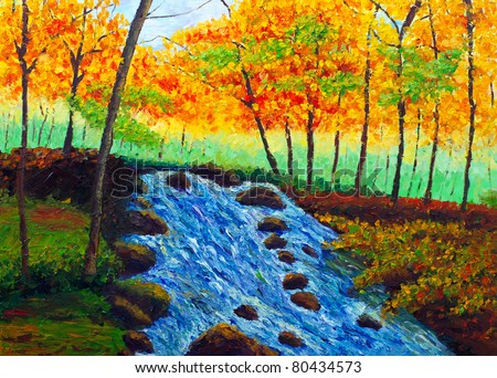 Oil Painting - Incoming Autumn - stock photo