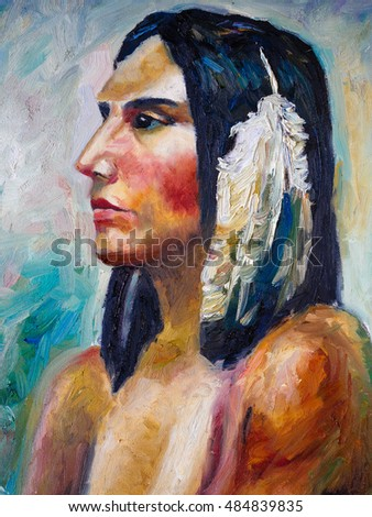 Oil Painting - Indian Woman