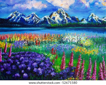 Oil-Painting - Landscape - stock photo