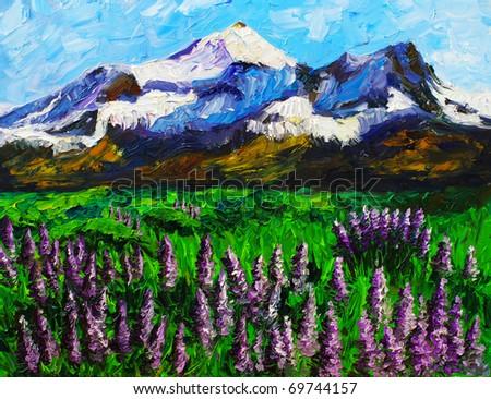 Oil Painting - Landscape - stock photo