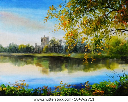 Oil painting landscape - castle near lake, tree over the water, bright colors, made ??in the style of Impressionism - stock photo