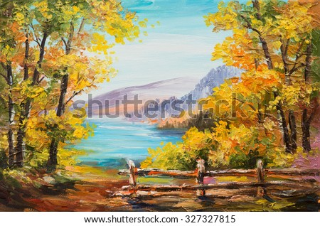 Oil painting landscape - colorful autumn forest, mountain lake, impressionism  - stock photo