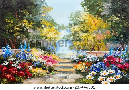 Oil painting landscape - colorful summer forest, beautiful flowers - stock photo