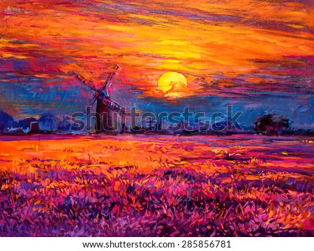 Oil painting landscape - colorful sunset and beautiful mill. Modern impressionism by Nikolov  - stock photo