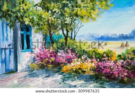oil painting landscape - garden near the house, colorful flowers, summer forest - stock photo