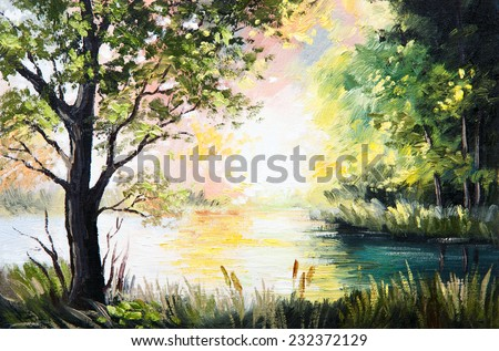 Oil painting landscape - lake in the forest, summer afternoon - stock photo