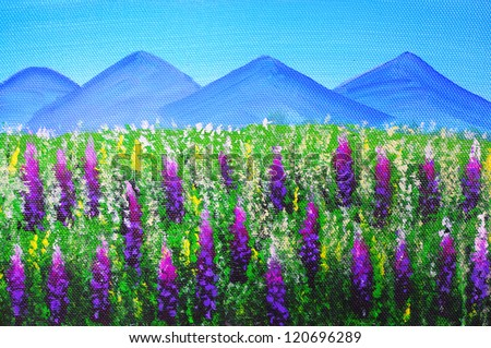 Oil Painting - Landscape (Lupine, New Zealand) - stock photo