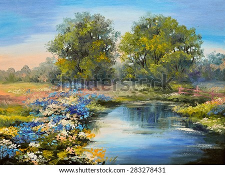 Oil painting landscape - river in the forest, colorful fields of flowers - stock photo