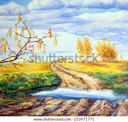 Oil painting. Landscape with all seasons - stock photo