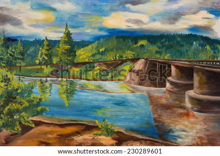 Oil painting. Landscape with forest river - stock photo