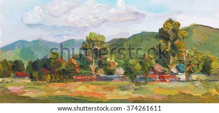 Oil painting landscape with mountains, trees and village