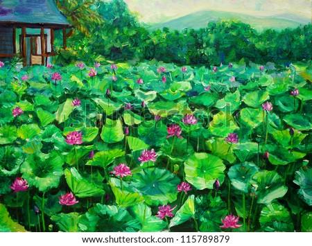 Oil Painting - Lotus - stock photo
