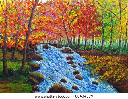 Oil Painting - Maple and Stream - stock photo