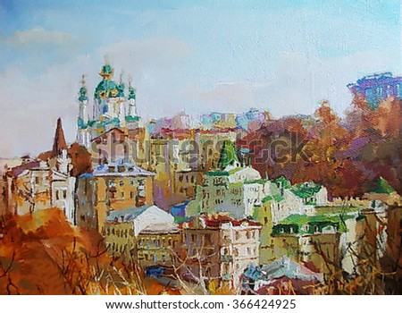 oil painting of a beautiful Christian church,  picture - stock photo