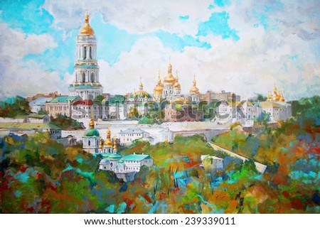 oil painting of a beautiful Christian church, the picture - stock photo