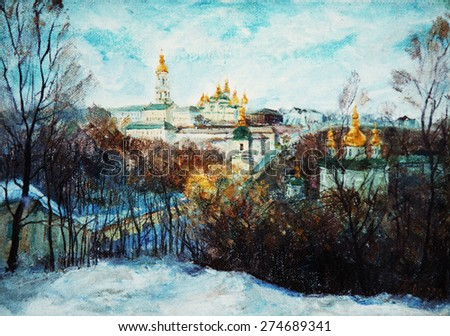 oil painting of a beautiful Christian church, the picture, winter, snow, - stock photo