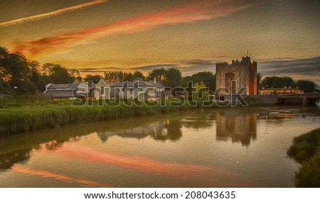 oil painting of a castle by the sea with a sunset - stock photo