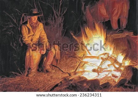 Oil painting of American cowboy at campfire - stock photo