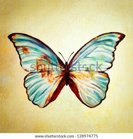 Oil painting of blue butterfly - stock photo