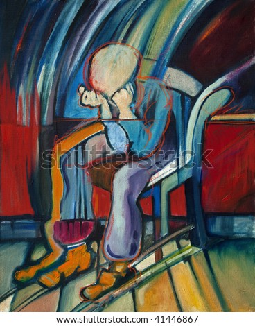 Oil Painting of depressed man based on a Van Gogh's painting - stock photo