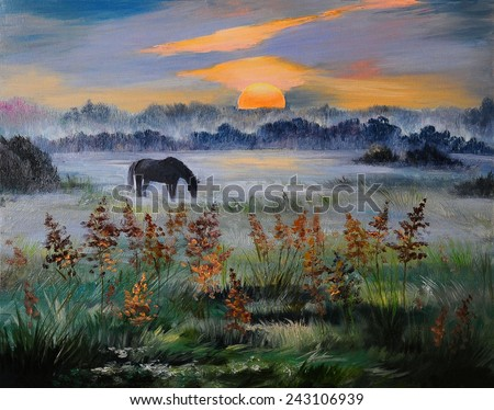 Oil painting of field at sunset - stock photo