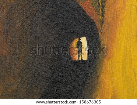 oil painting of mysteryous man in a tunnel - stock photo
