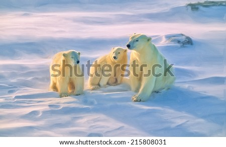 Oil painting of polar bear and cubs on Canadian Arctic tundra - stock photo