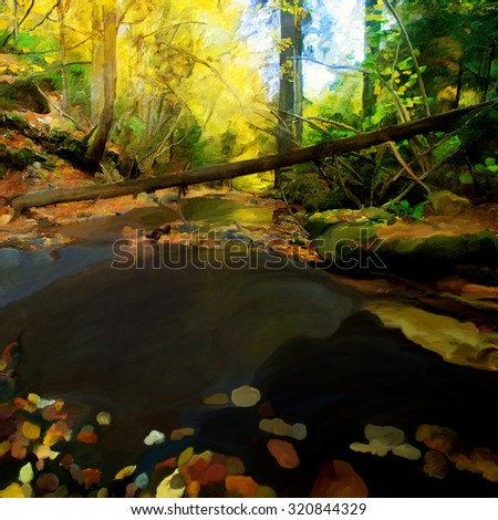 Oil painting of sunny autumn forest and stream  - stock photo