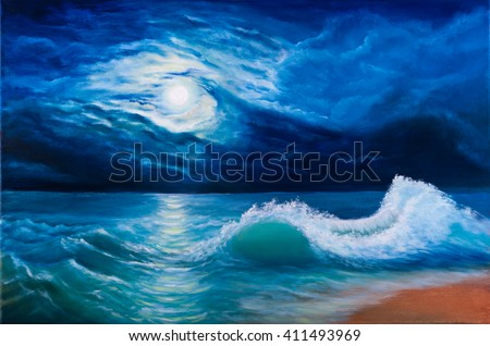Oil painting of the moonlight sea landscape - stock photo