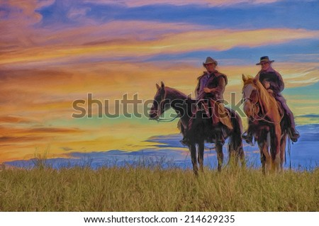 Oil painting of two cowboys at dawn - stock photo