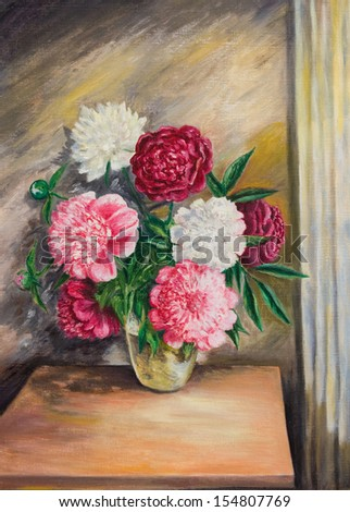 Oil painting on canvas.Bouquet of peonies in a vase - stock photo