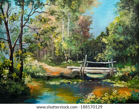oil painting on canvas - bridge in the forest - stock photo