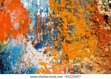 oil painting on canvas, brush strokes, detail of impressionist art work, red, brown,orange abstract texture - stock photo