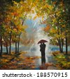 oil painting on canvas - couple in the forest - stock photo