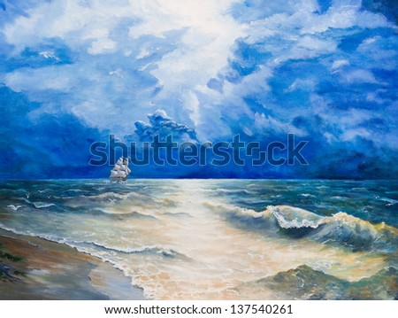 Oil painting on canvas. Drawing of boat is under sail - stock photo
