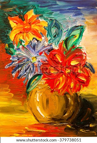 Oil painting on canvas flowers - stock photo