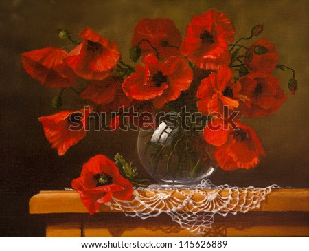 Oil painting on canvas,  poppy - stock photo