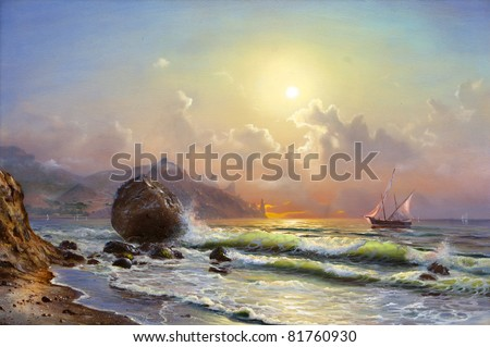 Oil painting on canvas, sailboat against a background of sea sunset