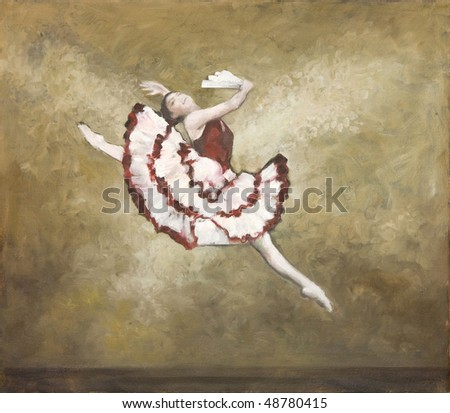 Oil painting on Canvas, Spanish like ballet dancer in earth and red colors. I, the Artist, owns the copyright. - stock photo