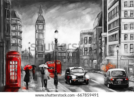 Oil painting on canvas street view of london artwork big ben couple