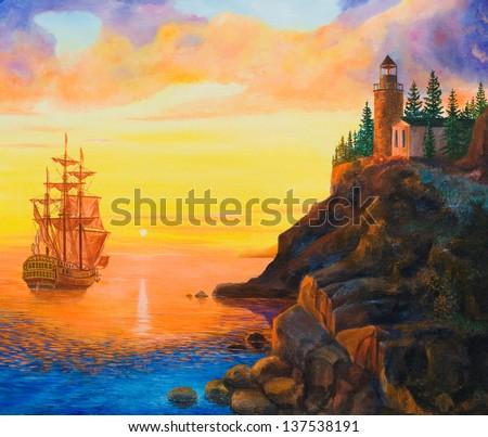 Oil painting on canvas. Sunset on the sea - stock photo