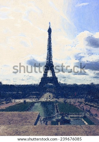oil painting paris eiffel tower - stock photo
