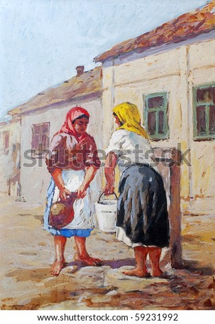 Oil painting representing two women pouring water from the well.