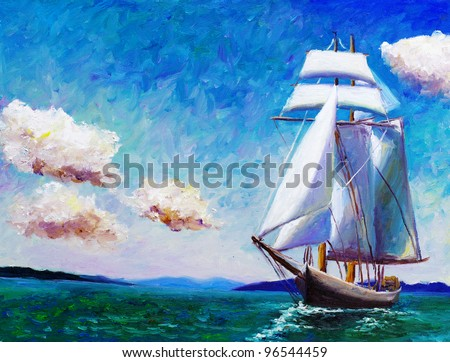 Oil Painting - Sailing Boat - stock photo