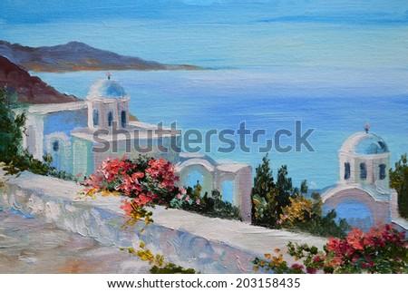 oil painting - Santorini, house near the sea - stock photo