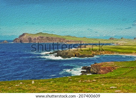 oil painting seascape from the ring of kerry - stock photo