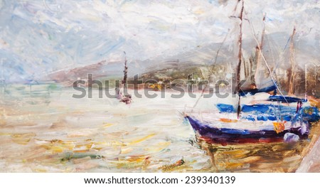 oil painting seascape, �  ship