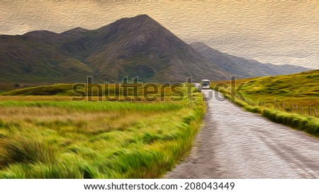 oil painting showing a rural irish landscape - stock photo